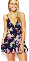 Navy Blue Pink Purple Green Yellow Floral Spaghetti Strap Cross Wrap V Neck Short Romper - Sold Out