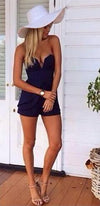 Navy Blue Strapless Plunge V Neck Split Peplum Short Romper - OUT OF STOCK - Sold Out
