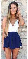 White Navy Blue Scallop Lace V Neck Cross Strap High Waist Pleated Short Romper - Sold Out