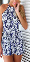 Navy Blue White Baroque Spaghetti Strap Halter Neck X Back Tie Waist Short Romper - Sold Out