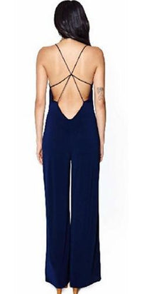 Navy Blue Sleeveless Spaghetti Strap Deep V Neck Crisscross Open Low Back Wide Leg Jumpsuit - Sold Out