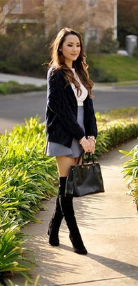Navy Blue Black Long Sleeve V Neck Button Cable Knit Cardigan Sweater - Sold Out