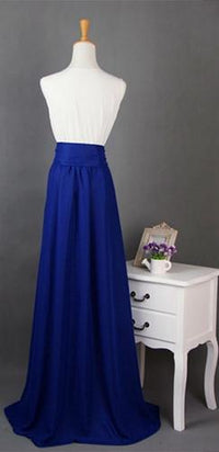 Navy Blue Long Chiffon Split Front Tie Waist Bow Maxi Skirt - Sold Out