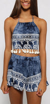Elephant Rider Blue White Tie Dye Elephant Border Spaghetti Strap Tie Back Halter Tassel Trim Two Piece Romper - Sold Out