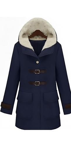 Navy Blue Beige Brown Long Sleeve Faux Fur Hooded Buckle Front Pocket Coat - Sold Out
