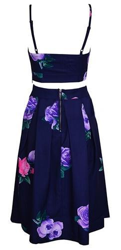 Crossing Paths Navy Blue Purple Pink Green Floral Spaghetti Strap V Neck Cut Out Crop Tank High Waist Pleated A Line Flare Midi Skirt Two Piece Dress - Sold Out