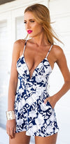 Lucid Dreams Navy Blue White Floral Spaghetti Strap Plunge V Neck Short Romper - Sold Out