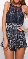 Take My Hand Navy Blue White Lace Sleeveless Scoop Neck Racerback Tiered Short Romper - Sold Out