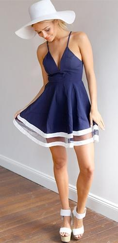 Polo Time Navy Blue White Spaghetti Strap V Neck Racerback Skater Circle A Line Flare Mini Dress - Sold Out