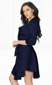 Indie XO First Date Navy Blue 3/4 Sleeve Cross Wrap V Neck Ruffle Satin Mini Dress - Sold Out