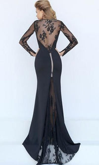 Standing Ovation Navy Blue Sheer Mesh Lace Trim Long Sleeve Scoop Neck Maxi Dress Evening Gown- Sold Out
