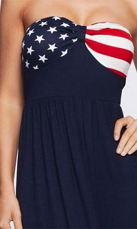 Patriotic Princess Navy Blue Red White Strapless Stars Stripes American Flag Maxi Dress - Sold out