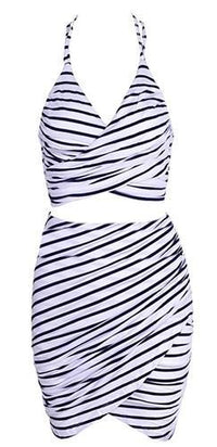 Love Conquers Navy Blue White Horizontal Stripe Spaghetti Strap V Neck Halter Backless Crop Tank Tulip Bodycon Two Piece Mini Dress - Sold Out