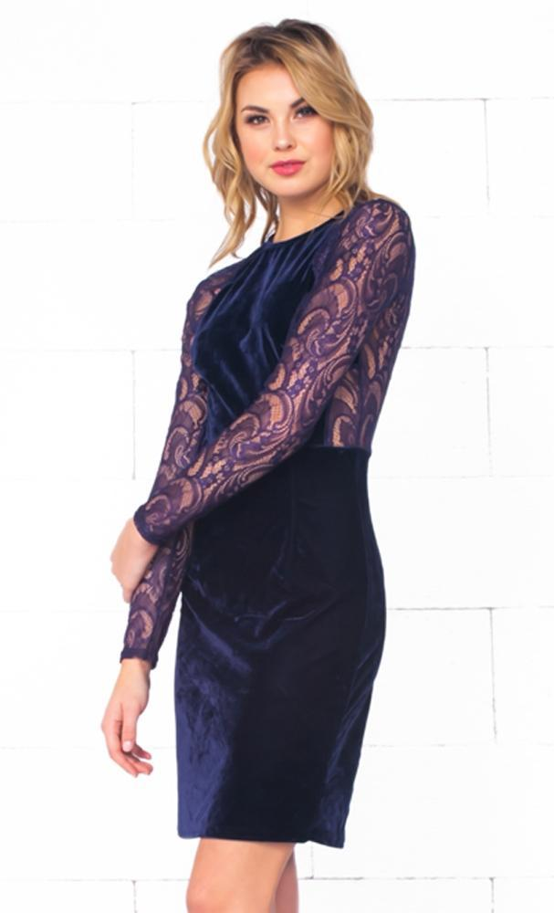 Indie XO Rumored Romance Navy Blue Sheer Mesh Lace Cut Out Long Sleeve Scoop Neck Velvet Bodycon Midi Dress - Just Ours! - Sold Out