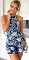 Navy Blue White Floral Sleeveless Halter Scoop Neck Open Back Short Romper - Sold Out