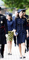 Navy Blue Gold Wool Double Breasted Button Front Epaulet Long Sleeve Knee Length Military Coat - Inspired by Kate Middleton - Sold Out