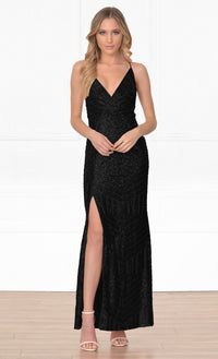 Indie XO My Moment To Shine Black Geometric Sequin Spaghetti Strap Cross Wrap V Neck Thigh Slit Maxi Dress - Sold Out