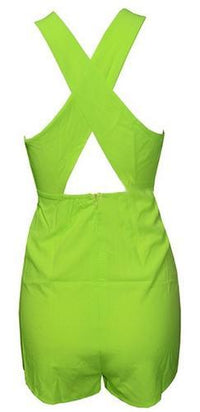 Neon Yellow White Green Sleeveless Cut Out Cross Halter Neck X Back Short Romper - Sold Out