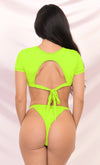 It's My Time Neon Green Two Piece Bandage Short Sleeve Crop Top Cut Out Tie Thong Bikini Swimsuit