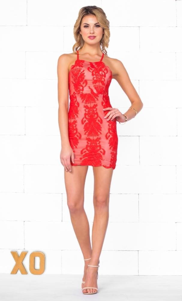 Indie XO All My Loving Red Nude Lace Sleeveless Spaghetti Strap Halter Open Back Bodycon Mini Dress - Just Ours! - Sold Out