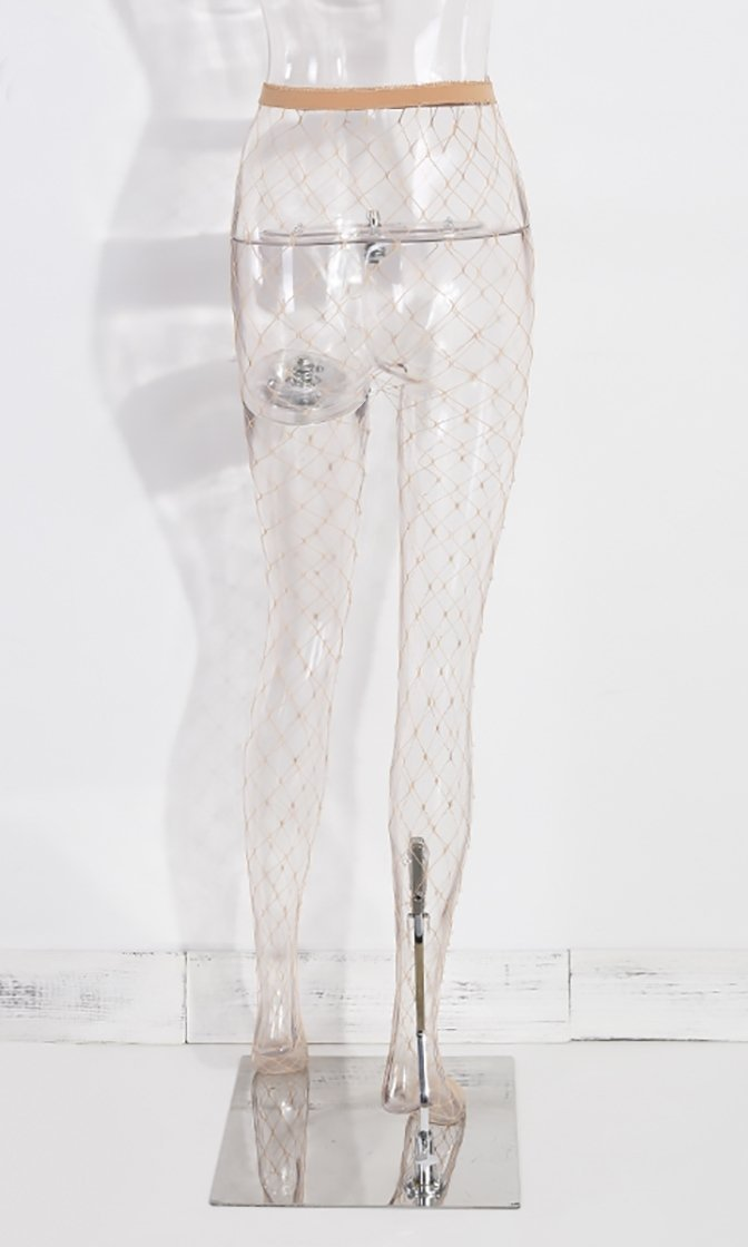 Pearly Gates Nude Fishnet Faux Pearl Stockings Tights