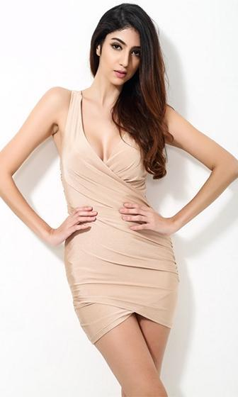 Hung Up Nude Sleeveless Cross Wrap V Neck Ruched Tulip Bodycon Mini Dress - Sold Out
