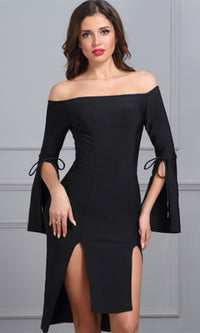 Flirt it Up Long Bell Sleeve Off The Shoulder Double Slit Bodycon Bandage Midi Dress - 2 Colors Available - Sold Out