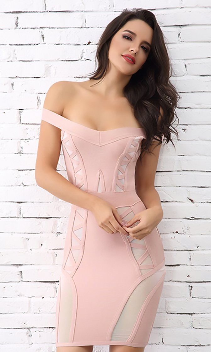 My Darling Off The Shoulder V Neck Bandage Bodycon Mini Dress - 3 Colors Available