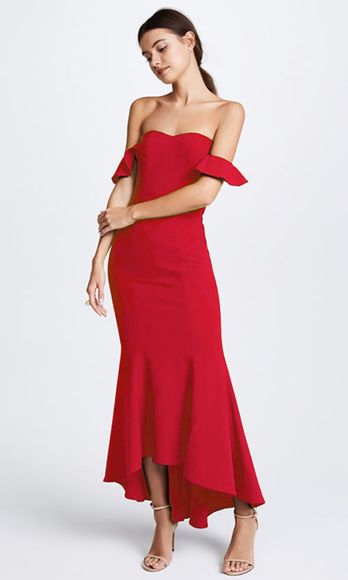 Shy Girl Strapless Off The Shoulder High Low Bandage Maxi Dress - 2 Colors Available