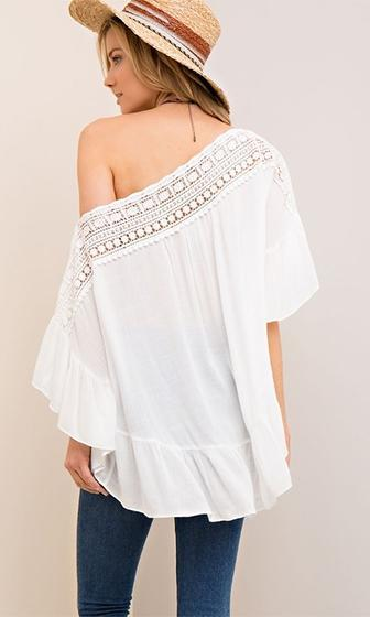 Clear Skies White Crinkled Lace Trim 3/4 Loose Open Ruffle Sleeve Off The Shoulder Tunic Top - Sold Out