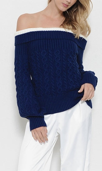 Pretty Preppy Long Sleeve Foldover Off The Shoulder Pullover Cable Sweater - Sold Out