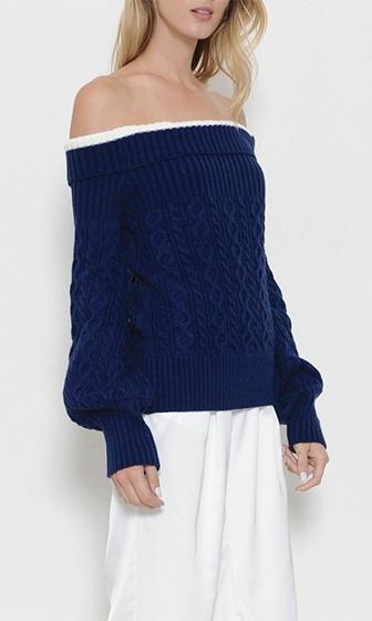 Pretty Preppy Long Sleeve Foldover Off The Shoulder Pullover Cable Sweater