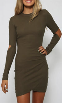 Young And Free Olive Green Long Sleeve Cut Out Elbow Crew Neck Bodycon Mini Dress - Sold Out