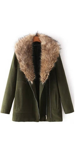 Olive Green Beige Faux Fur Trimmed Lapel Long Sleeve Wool Coat - Sold Out