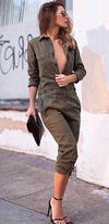 No Love Lost Olive Green Long Sleeve Button Front Flap Pocket Jumpsuit - Sold Out