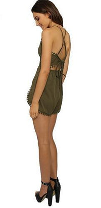 Catch A Glimpse Olive Green Spaghetti Strap V Neck Crochet Trim Overlap Tie Back Short Romper - Sold Out