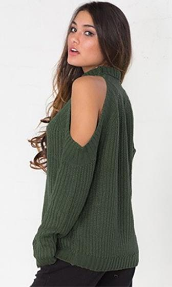 Cold As Ice Olive Green Long Sleeve Cut Out Shoulder Mock Neck Pullover Sweater
