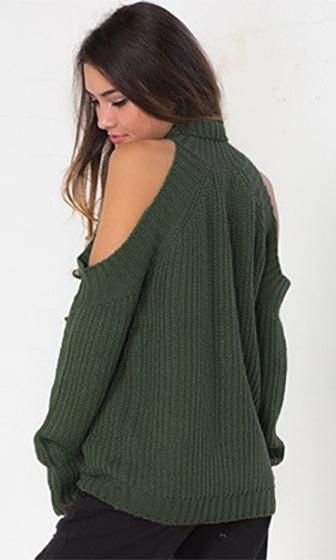 Cold As Ice Olive Green Long Sleeve Pattern Cut Out Shoulder Mock Neck Pullover Sweater - Sold Out