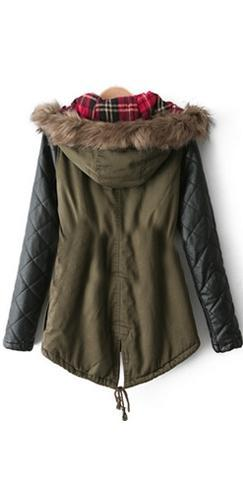 Olive Green Black Faux Leather Quilted Contrast Sleeve Faux Fur Hooded Drawstring Waist Anorak Coat - Last One! - Sold Out