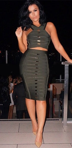 Off To Battle Olive Green Gold Sleeveless V Neck Crop Top Bodycon Bandage Two Piece Midi Dress