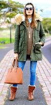 Olive Green Beige Faux Fur Trim Hooded Long Sleeve Zip Drawstring Waist Parka Coat  - Sold Out