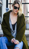 Downtown Doll Army Olive Green Long Sleeve Textured Long Coat- Sold Out
