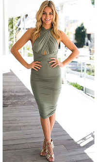 Pretty Little Liar Olive Green Sleeveless Cross Wrap Adjustable Tie Waist Ruched Bodycon Midi Dress - Sold Out