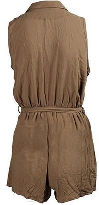 Olive Green Sleeveless Cross Wrap V Neck Tie Waist Short Romper - Sold Out