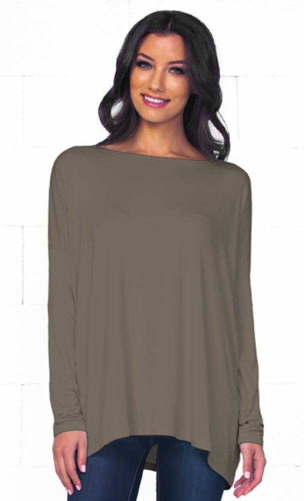 Piko 1988 Olive Green Bamboo Piko Comfy Boat Neck Long Sleeve Slouchy Basic Knit Tee Shirt Top