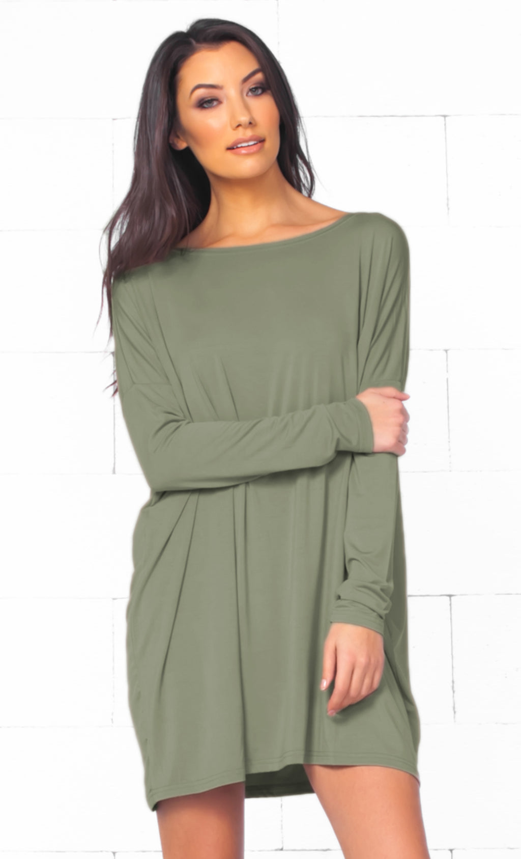 Piko 1988 Olive Green Long Sleeve Scoop Neck Piko Bamboo Oversized Basic Tunic Tee Shirt Mini Dress