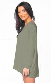 Piko 1988 Bamboo Olive Green Long Dolman Sleeve V Neck Piko Bamboo Loose Tunic Top  -  Out of Stock!!