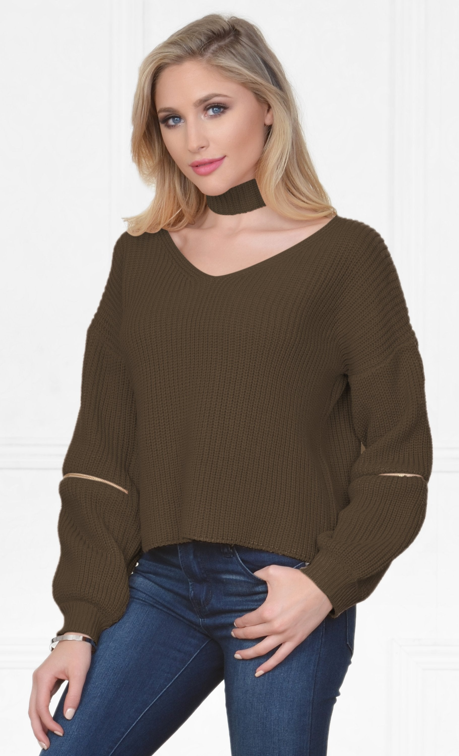 Indie XO Layer By Layer Olive Green Long Sleeve Loose Zipper Elbow V Neck Detachable Choker Pullover Sweater