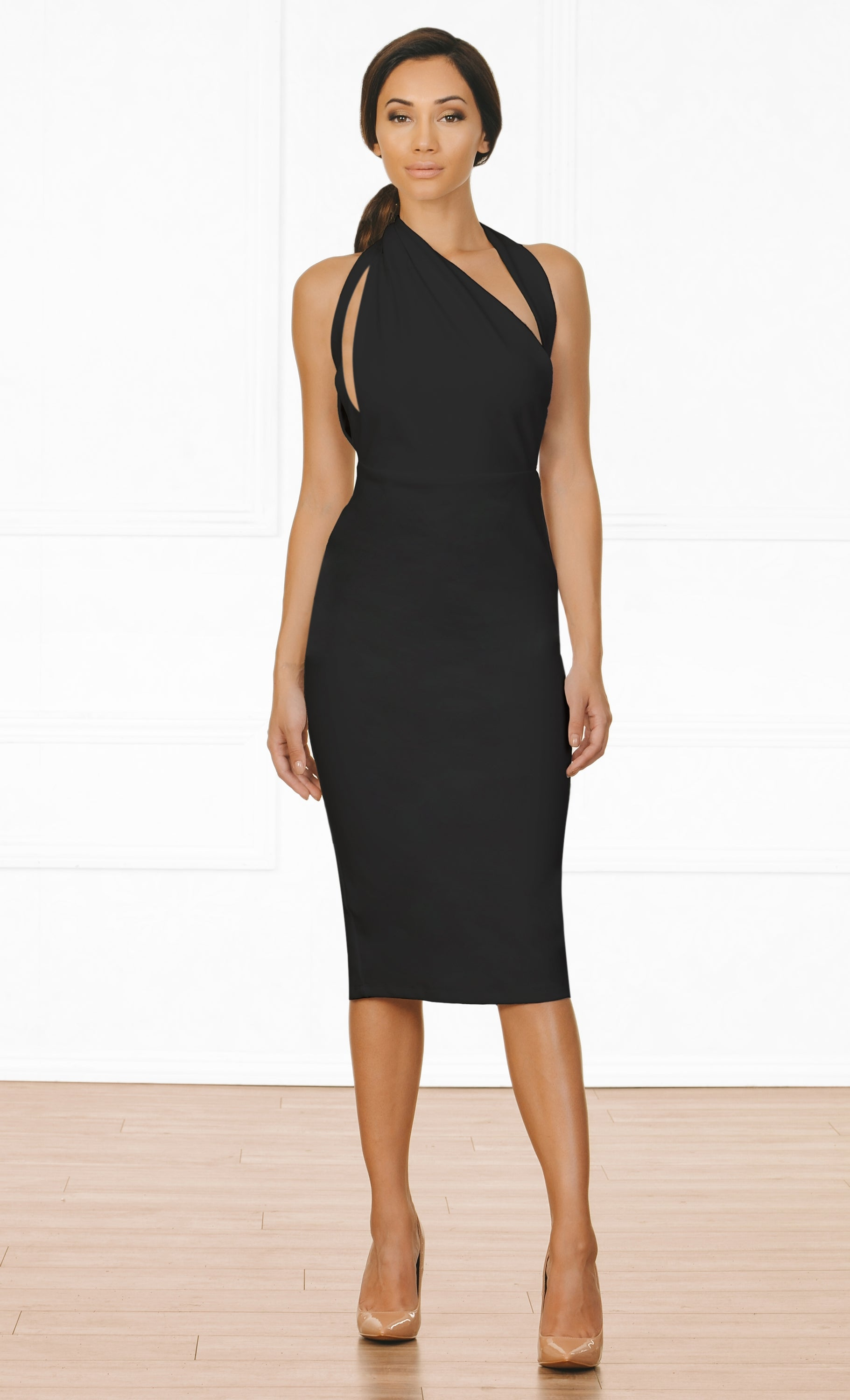 Indie XO Tough Luck Black Sleeveless Cut Out Asymmetric Halter Bodycon Midi Dress
