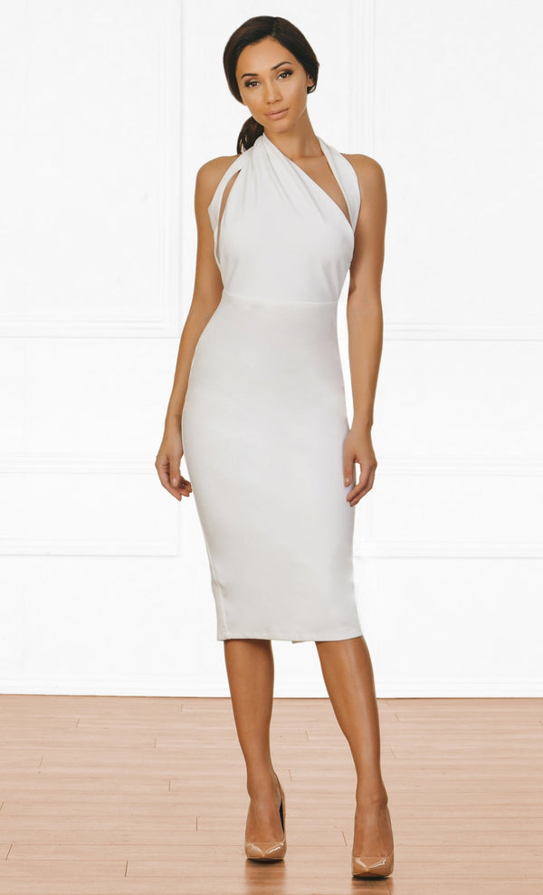 Indie XO Tough Luck White Sleeveless Cut Out Asymmetric Halter Bodycon Midi Dress